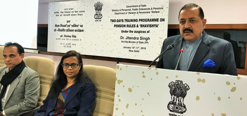 Union Minister Dr Jitendra Singh addressing the two-day training programme for officials from different Union Ministries dealing with pension related matters, at New Delhi on Friday.