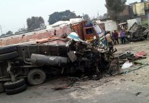 Ill-fated vehicle after accident at Nanak Chack on Jammu-Pathankote National Highway.