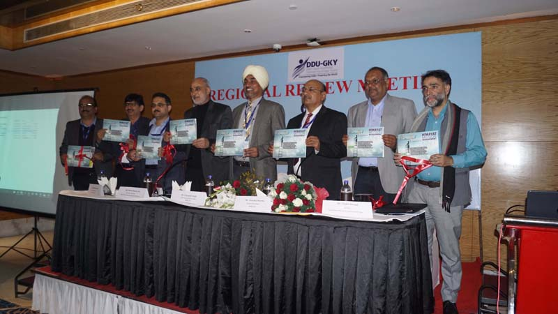 Union Joint Secretary Charanjeet Singh and others releasing brochure on Himayat on Thursday.