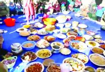 People of Kargil celebrating Mamani, the seasonal Ethnic Food Festival on Friday. -Excelsior/ Basharat Ladakhi