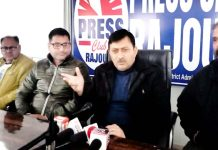 MLC Vibodh Gupta interacting with media persons at Rajouri on Saturday.