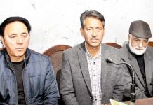 Representatives of LMCC during a press conference at Jammu. -Excelsior/Rakesh