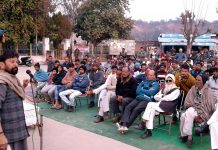 Choudhary Lal Singh, president of Dogra Swabhimaan Sangathan, addressing a gathering at Utterbehni in Samba district.