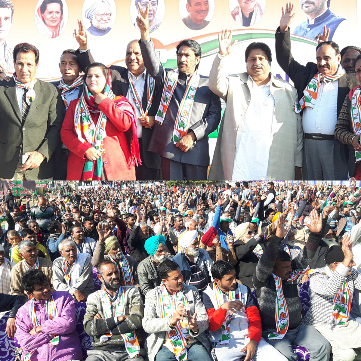 PCC chief G A Mir, AICC Secy Shakeel Khan, Raman Bhalla, R S Chib and others at Cong convention in Suchetgarh on Sunday.