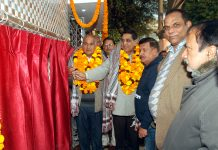 Mayor Jammu Municipal Corporation Chander Mohan Gupta inaugurating Deluxe Sulabh Toilet Complex at Channi Himmat in Jammu.