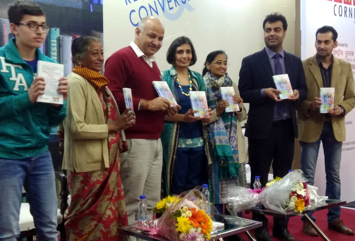 Deputy CM, Delhi, Manish Sisodia, along with other guests launching a book of Jammu's author Payal Jain at World Book Fair, New Delhi.