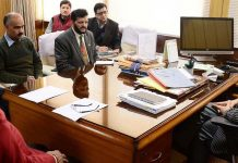 Advisor K K Sharma chairing a meeting on Tuesday.