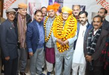 Newly elected Rajput Sabha president, Pavitar Singh Bhardwaj along with other members at Jammu on Tuesday. —Excelsior/ Rakesh