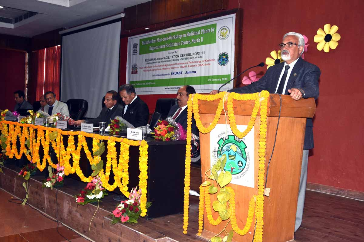 SKUAST-J VC delivering inaugural address at workshop on medicinal plants on Thursday.