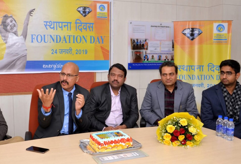 Regional Director, BPCL, Rajesh Sharma, speaking about the company during celebration of its foundation day. Also seen in the picture are Manager Sales, Dushyant Sharma and other staff.