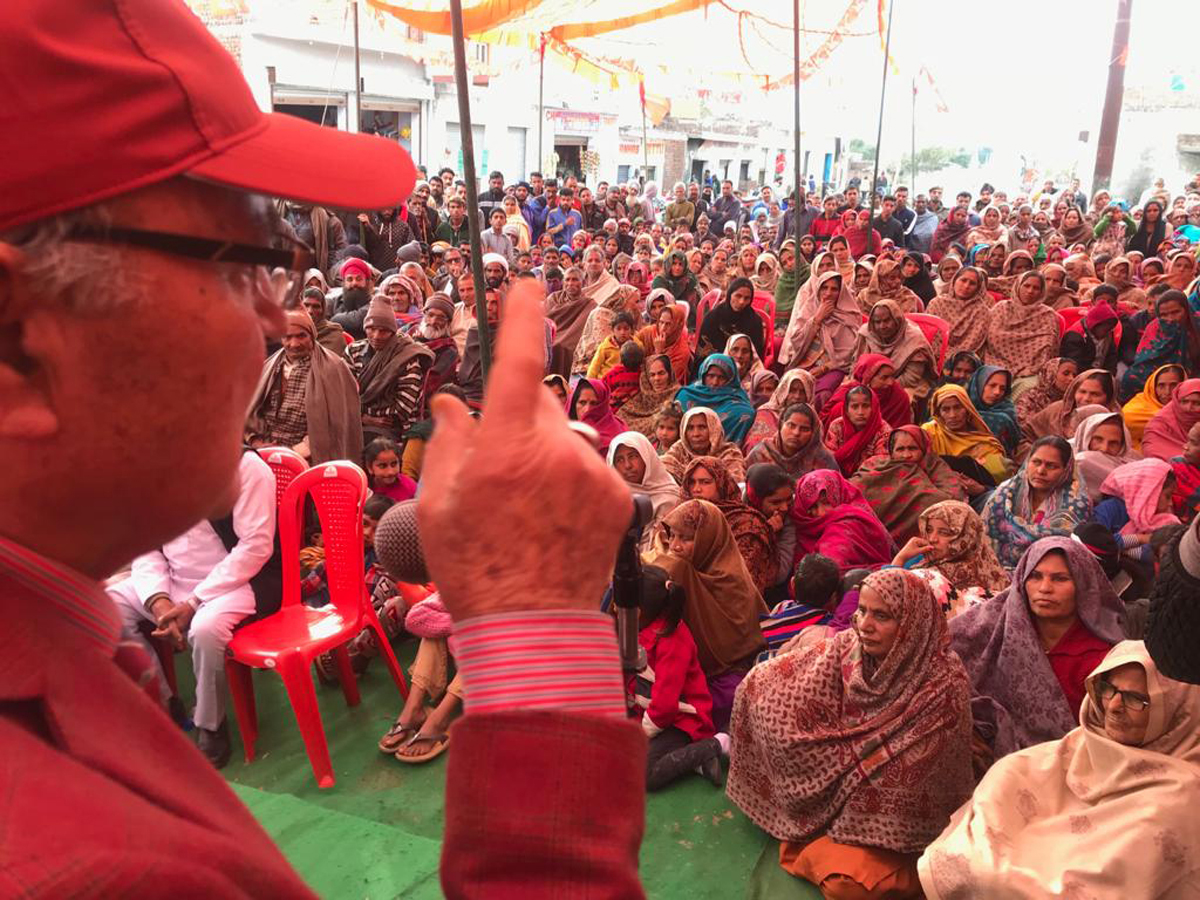 Dr Mustafa Kamaal, NC additional general secretary, addressing a public meeting in Kathua district.