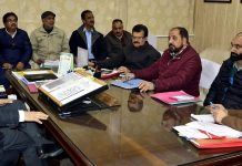 Secretary PHE Farooq Ahmed Shah chairing a meeting on Tuesday.