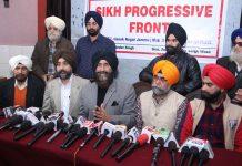Sikh Progressive Front president, Balvinder Singh addressing press conference in Jammu on Monday.