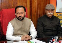 IkkJutt Jammu Chief Ankur Sharma addressing a press conference on Tuesday. -Excelsior/Rakesh
