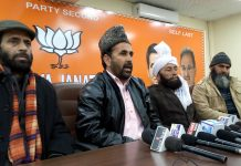 BJP ST Morcha State president Choudhary Haroon at a press conference at Jammu on Tuesday. -Excelsior/Rakesh