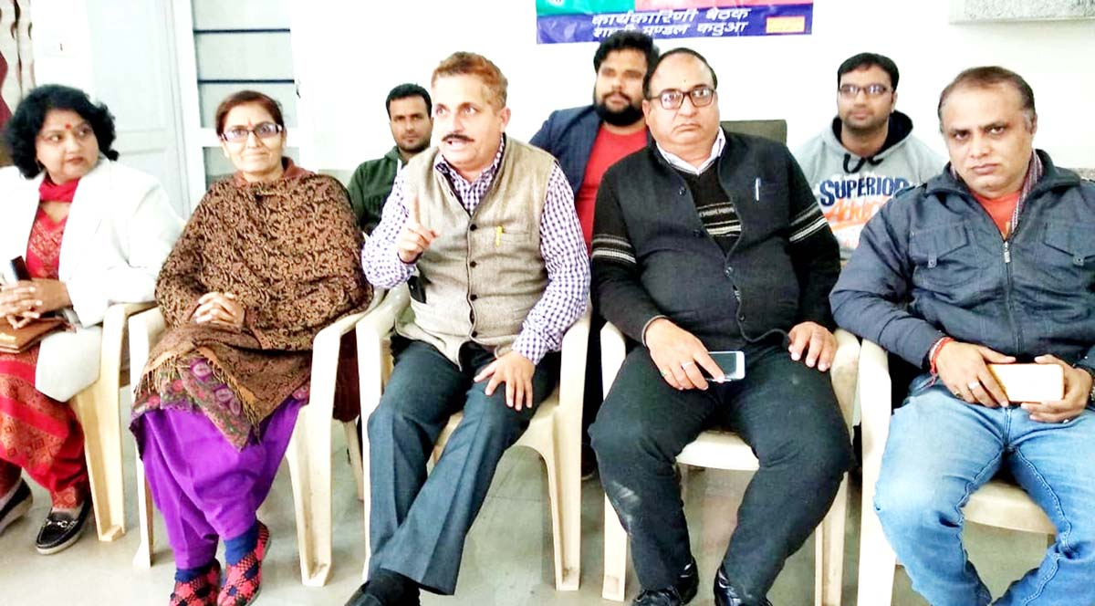 BJP leaders at a press conference at Kathua on Tuesday.