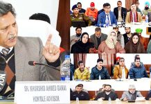 Advisor Khurshid Ganai interacting with delegations on Tuesday.