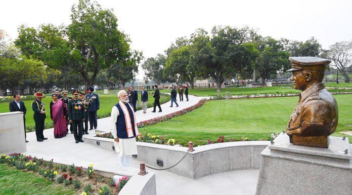 Prime Minister Narendra Modi at the dedication ceremony of the National War Memorial in New Delhi on Monday. (UNI)