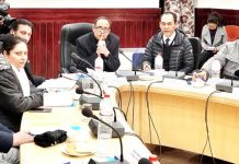 Members of the committee for Ladakh constituted by SAC in a meeting with LAHDC Leh on Monday.