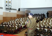 DGP Dilbagh Singh addressing trainees at Sher-i-Kashmir Police Academy Udhampur.