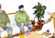 Governor meeting with Lt. Gen. A.K Bhatt and Lt. Gen. KJS Dhillon on Monday.