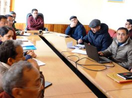 Officials of LAHDC Leh and others during a meeting at Leh.