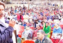 Cong leader Raman Bhalla addressing public gathering at Qasim Nagar in Gandhi Nagar area on Sunday.