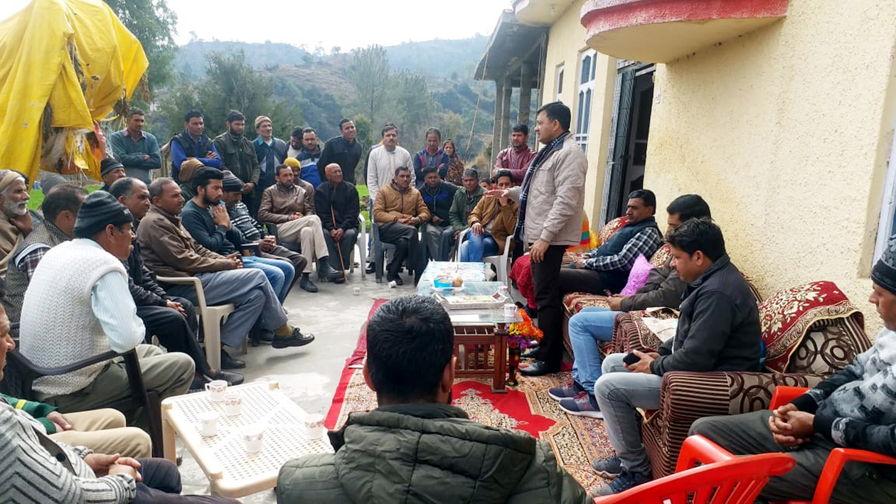 MLC Vibodh Gupta addressing a public meeting in a border village of Rajouri.