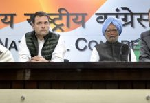 Congress president Rahul Gandhi with former Prime Minister Manmohan Singh, LoP in Rajya Sabha Ghulam Nabi Azad and former Defence Minister AK Antony addressing a press conference at AICC HQ, in New Delhi on Friday. (UNI)