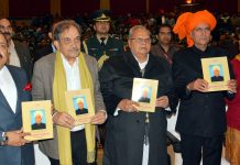 Governor, Satya Pal Malik and Union Ministers, Ch. Virender Singh & Dr Jitendra Singh releasing a magazine at Katra on Sunday.