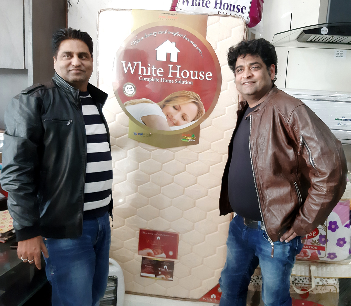 Executives of 'White House' during the launch of new mattress in Jammu.