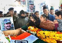 Wife Nitika Kaul, family members of Major Vibhuti Dhoundiyal pay their last respects.