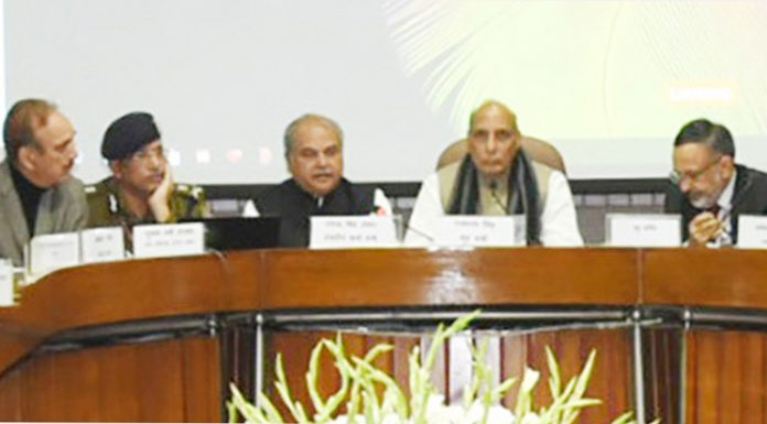 Union Home Minister Rajnath Singh chairing a meeting of floor leaders of political parties in both Houses of Parliament in New Delhi on Saturday.