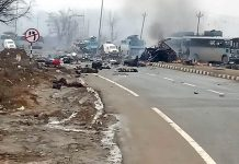 A view of the site where militants target CRPF vehicles on Jammu-Srinagar National Highway at Lethpora in Pulwama on Thursday. —Excelsior/Younis Khaliq