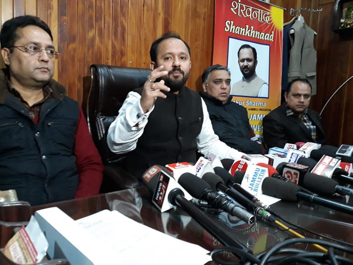 Ankur Sharma addressing a press conference at Jammu on Thursday.