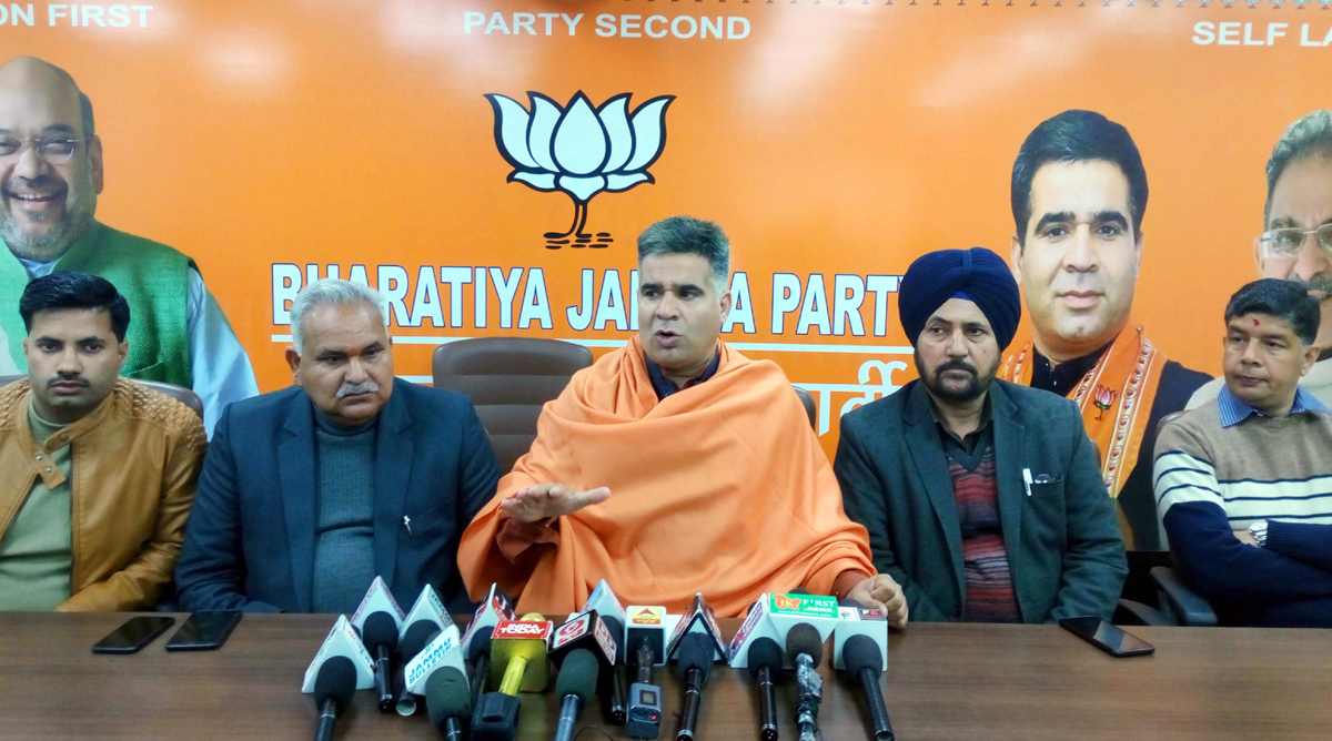 BJP State President, Ravinder Raina, Party general secretary, Dr Narinder Singh and former Minister, Sham Choudhary at a press conference in Jammu on Thursday.