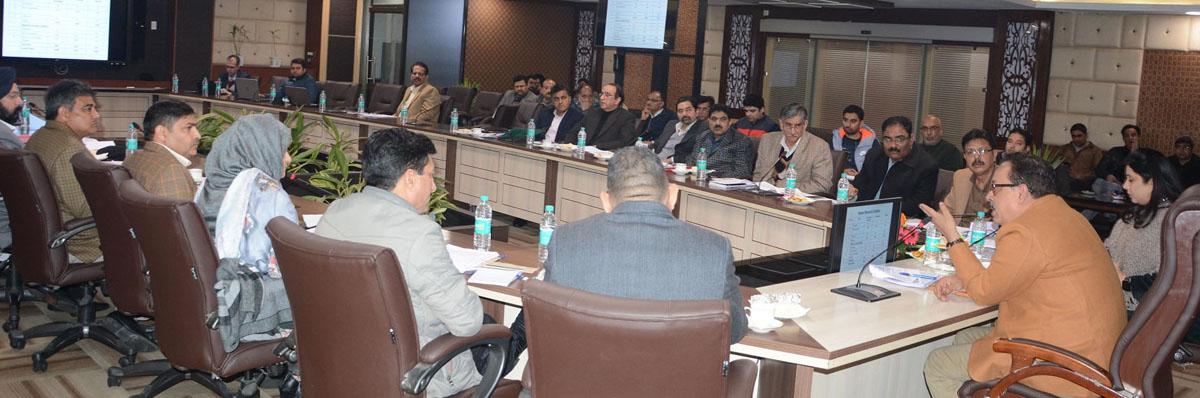 Principal Secretary Industries & Commerce Navin K Choudhary chairing a meeting on Thursday.