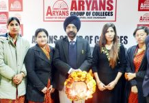 Dignitaries during Seminar on 'Drug Interaction & Medical Efficacy' organised by Aryans Campus.