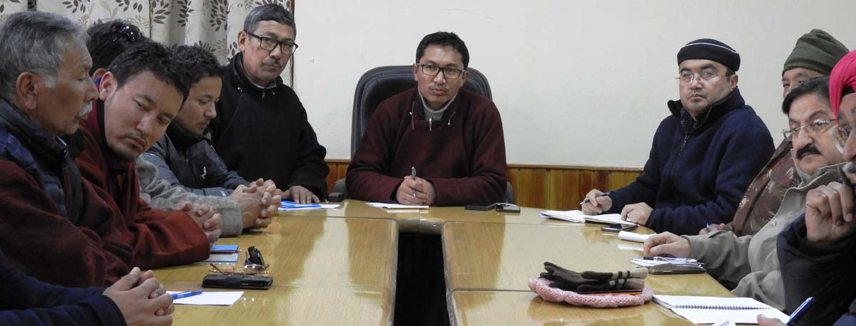 CEC, LAHDC, Leh Jamyang Tsering Namgyal chairing meeting of district officers on Thursday.