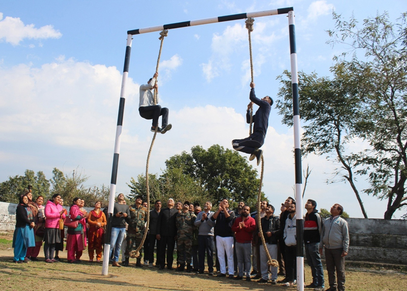 Villagers enjoying open air gym facility at Vijaypur in Samba.