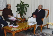 Governor Satya Pal Malik chairing the SAC meeting in Jammu on Thursday.