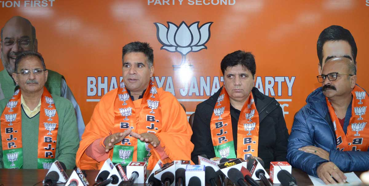 BJP leaders at a press conference at Jammu on Thursday. -Excelsior/Rakesh