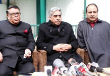 PDP general secretary, Ghulam Nabi Lone Hanjura addressing a press conference at Srinagar. -Excelsior/Shakeel
