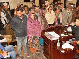 District Development Commissioner Showkat Aijaz Bhat at a public grievances redressal camp at Ramban on Monday.