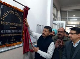 DC Kathua, Rohit Khajuria inaugurating Dialysis centre at DH, Kathua on Monday.