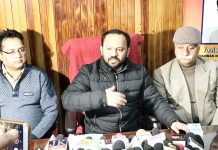 Ankur Sharma addressing a press conference at Jammu on Friday.