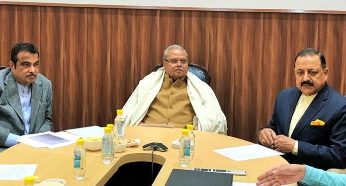Governor Satya Pal Malik, Union Ministers Nitin Gadkari and Dr Jitendra Singh and Chief Secretary BVR Subrahmanyam at a high-level meeting in New Delhi on Tuesday.