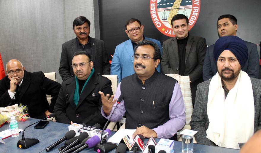 BJP national general secretary, Ram Mandhav and vice president, Avinash Rai Khanna at a meeting at CCI at Jammu on Tuesday. -Excelsior/Rakesh