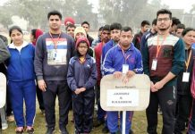 Special athletes of J&K posing after excelling in Handball National coaching Camp at Agra in Uttar Pradesh.