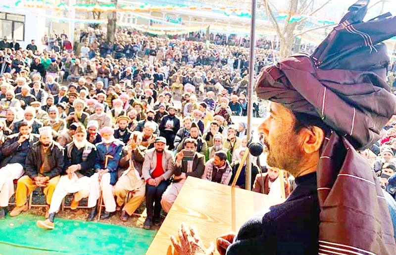 PCC chief GA Mir addressing Cong Convention at Surankot in Poonch on Monday.